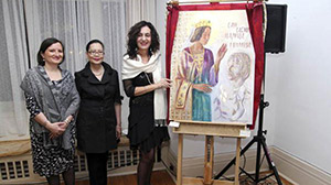 Marina with Serbian charge d'affaires Mirjana Sesum-Curcic and Indonesian Ambassador Dienne H. Moehario, unveiling the portrait of Carica Milica, Vernissage, 05.03.14