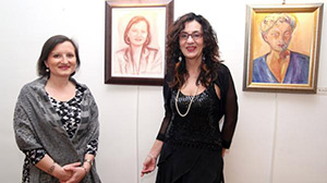 Marina with Mrs. Mirjana Sesum Curcic and her portrait, Vernissage, 05.03.14